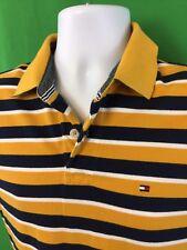 Tommy Hilfiger Mens Polo Shirt M Medium Short Sleeve Yellow Blue White Stripes