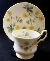 ROSINA CHINA COQUEENS FINE BONE CHINA DEMITASSE TEA CUP & SAUCER YELLOW PANSIES
