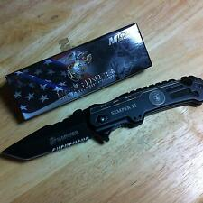 MTech USA Licensed USMC Marines Rescue Linerlock A/O Tactical Knife  MA1002TS