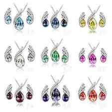 Mode Frauen Hochzeit Silber Schmuck-Set Kristall Halskette Anhänger Strass Neu