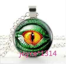 Vintage dragon eyes Cabochon Tibetan silver Glass Chain Pendant Necklace #1077