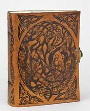Handmade Woodland Fox leather journal sketch book ~ Jen Delyth Celtic design