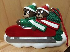 2 CUTE BEARS ON SLED PERSONALIZE YOURSELF RESIN CHRISTMAS HOLIDAY TREE ORNAMENT