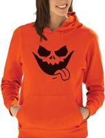 Evil Jack O' Lantern Scary Pumpkin Face Halloween Women Hoodie Funny