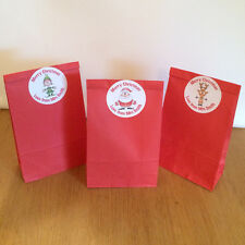 12 X BIRTHDAY CHRISTMAS CHILDS PARTY PAPER LOOT BAGS + PERSONALISED STICKERS S1