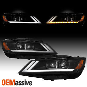 [LED DRL SWITCHBACK] For 2014-2020 Chevy Impala Black Projector Headlight Lamp