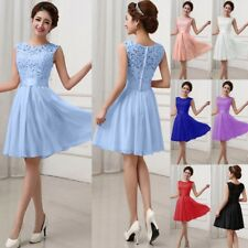 UK Womens Lace Chiffon Party Cocktail Mini Sleeveless Bridesmaid Skater Dress