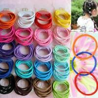 100Pcs Kids Girl Elastic Rope Hair Ties Ponytail Holder Lovely Hairbands Sets