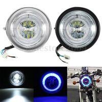 """6.5"""" Universal Motorcycle LED Headlight Bulb Hi/Lo Blue Angel Eyes Halo Ring"""