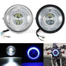 "6.5"" universali per ruote moto Faro LED lampadina Hi/Lo Blue Angel Eyes anello d"