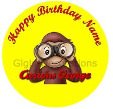 Curious George Personalised Edible Birthday Party Cake Decoration Topper Image
