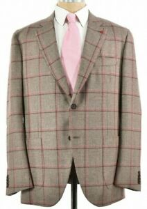 Isaia NWT Sport Coat Size 56 46R In Browns & Light Pink Plaid Cashmere & Wool