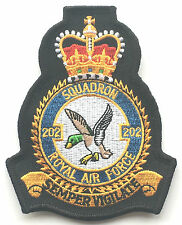 RAF No.202 Squadron Official Crest Royal Air Force Embroidered Patch