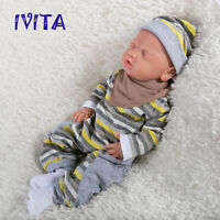IVITA 18'' Eyes Closed Silicone Reborn Baby GIRL Mouth Open Sleeping Doll