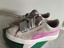 Puma en Daim Coeur Bijou Filles Baskets Junior White Patent Ruban Enfants Chaussures
