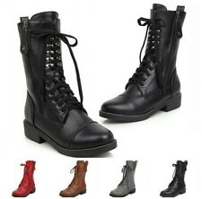 Women College Ankle Boots Lace Up Low Heels Winter Warm Round Toe Shoes 34/43 D