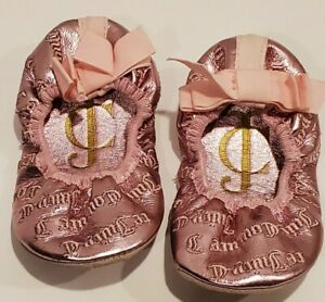 Juicy Couture Baby Girls Shoes Size 4 Ballet Flats Metallic Leather Soles Pink