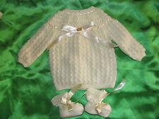brassiere tricot bébé naissance tricotée main france ecru + chaussons baby