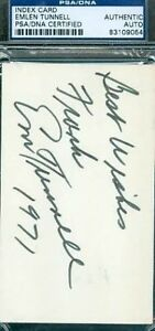 Emlen Tunnell Autograph 3x5 Index Card Psa/dna Signed Authentic