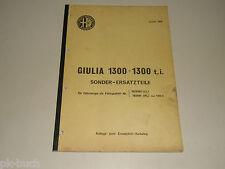 Catálogo de Piezas Sonder-Ersatzteile Alfa Romeo Giulia 1300T. I. 01/1969