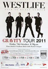 "Westlife ""Gravity Tour 2011"" Malaysian Concert Poster- Irish Boy Band, Pop Music"
