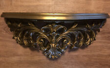 Vintage Wall Shelf Large Gold Homco Syroco Home Interiors 1970's