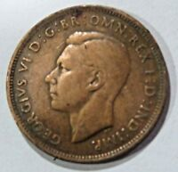 1945 united kingdom half penny George VI with 'IND:IMP' CIRCULATED Bronze COIN