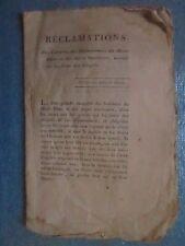 RECLAMATIONS DES CITOYENS EMIGRES MONT BLANC / ALPES MARITIMES, 1797.