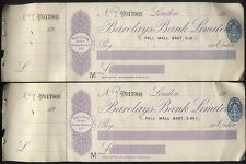 1921 BARCLAYS BANK, London, 1 PALL MALL Branch TWO UNUSED CHEQES