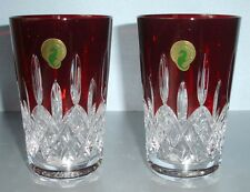 Waterford Lismore Red Hiball Highball Glasses SET/2 Crystal 40014982 New In Box