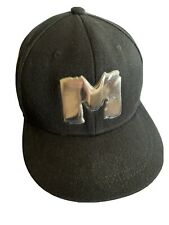 Metal Powerlifting Black Flat Bill Cap Hat Silver Letter M on front SnapBack EUC