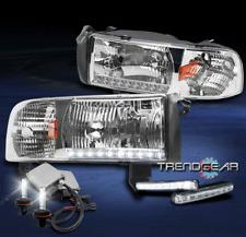 1994-2001 DODGE RAM TRUCK LED STRIP CHROME CRYSTAL HEAD LIGHTS+BUMPER DRL+6K HID