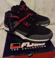 NEW FUBU REED 3 SIZE 11 BLACK WITH RED MID TOP ANKLE SUPPORT ATHLETIC SHOE