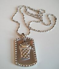 Cool Silver Finish Beauty Basket Ball Dog Tag Mens Fashion Pendant Necklace