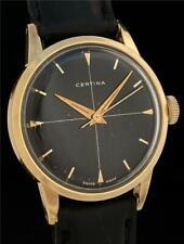 STUNNING Vintage CERTINA Black CROSSHAIR Gilt DIAL 14K Gold Cap Steel Mens Watch