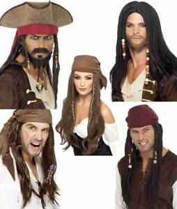 Adult Caribbean Pirate Wigs Hair Unisex Men Lady Fancy Dress Accessory