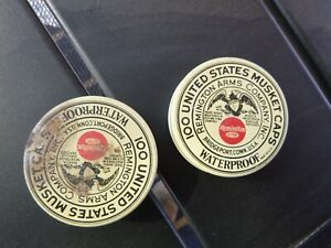 Vintage UNITED STATES MUSKET CAPS Remington Arms Company  2 tins full