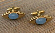 Cufflinks Blue Chalcedony Stone Co Vintage Anson Mid Century Gold Tone