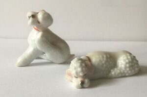2 Vintage White Porcelain Poodle Miniatures Lovely Quality1950s