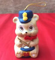 Vintage Ceramic Bear Drummer Boy Christmas Ornament Bell Blue Hat Fuzz-Balls Tie