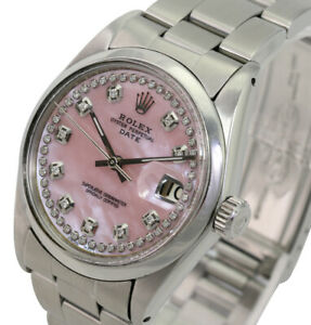 Rolex Watch Oyster Perpetual Date Pink MOP String Diamond Dial 34mm Steel