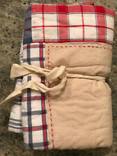 Pottery Barn Kids Plaid Khaki Red Blue Standard Quilted Sham New