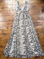H&M snake print beige wedding guest maxi dress - EU 34 UK 8
