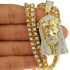 """Iced-Out Jesus Piece Chain 1 One-Row Bling Gold Finish Tennis Necklace 24"""" Inch"""