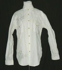 Guess Men's White On White Design Shirt Size S Western Snaps Black Trim Pockets