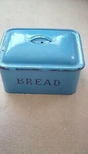 Vintage large enamel bread bin in bright blue