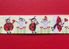 LADYBUG LOVE Ladybirds Grosgrain RIBBON 1Mtr X 22mm For Craft Hair Gifts Cakes