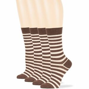 Women's Cotton 4 Pack Striped Dress Business Soft Crew Socks Large 10-12 Brown