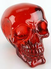 Collectible TRANSLUCENT RED SKULL Handpainted Resin Statue CRYSTAL LOOK