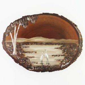 Vintage Oil Painting Wood Bark Birds Wetlands, Red Cedar, J Saunders Queensland